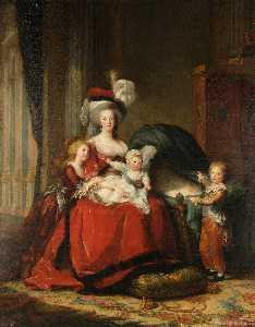Marie-Antoinette Lorrraine Habsburg, Queen of France and her children.