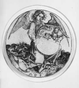 Shield with a lion ,Held by an Angel