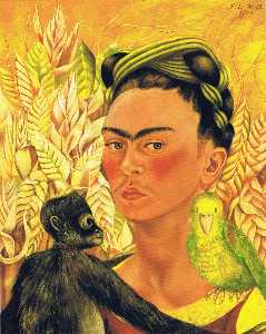 Self-Portrait with Monkey and Parrot