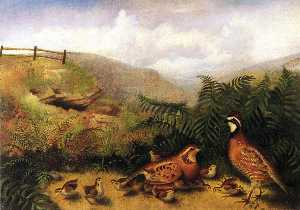 Landscape with Quail - Cock, Hen and Chickens
