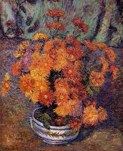 Vase of Chrysanthemums