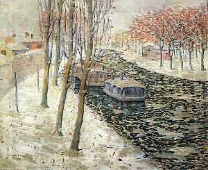 Canal Scene in Winter