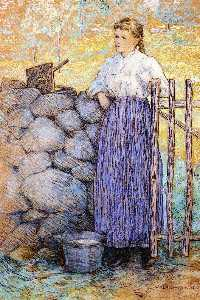 Girl Standing by a Gate