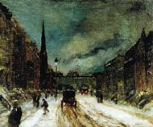 scena di strada con neve