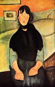 Dark Young Woman Seated by a Bed