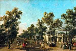 View Of The Grand Walk, vauxhall Gardens, With The Orchestra Pavilion, The Organ House, The Turkish Dining Tent And The Statue Of Aurora