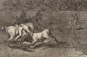 Mariano Ceballos, alias el Indio, mata el toro desde su caballo