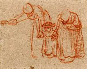 Two Women Teaching a Child to Walk