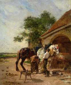 Attending to the horses