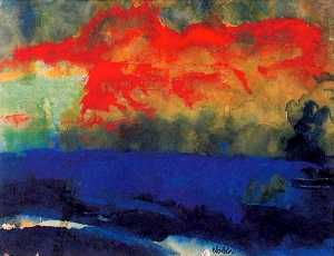 Blue Sea and Red Clouds