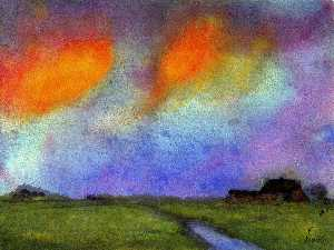 Marshy Landscape under the Evening Sky