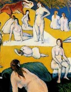 Bathers with Red Cow