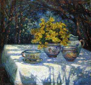 Table with Yellow Bouquet