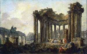 Landscape with the Ruins of the Round Temple, with a Statue of Venus and a Monument to Marcus Aurelius