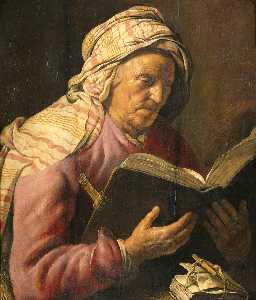 Reading old woman