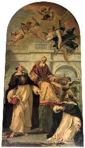 Pope Pius V with Saints Thomas Aquinas and Martyr Peter