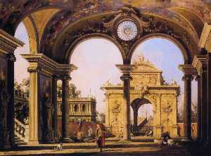 Capriccio of a Renaissance Triumphal Arch seen from the Portico of a Palace