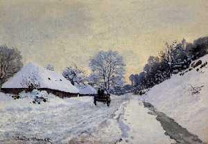 A Cart on the Snow Covered Road with Saint-Simeon Farm