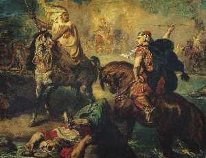 Chefs de tribus arabes se défiant au combat singulier sous les remparts d'une ville