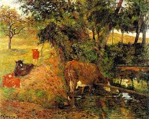 Cows near Dieppe (also known as Landscape with Cows in an Orchard)