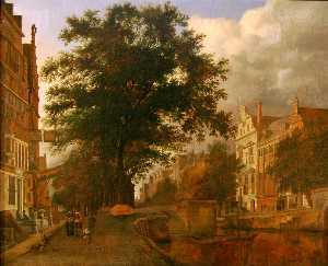 Fantasized Amsterdam cityscape with moat
