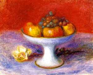 Fruit and a White Rose