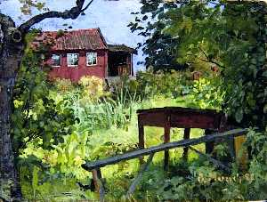 Garden with Red House
