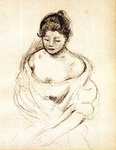 Girl en face with Nude Shoulders, Seated