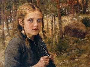 A Girl Knitting Socks