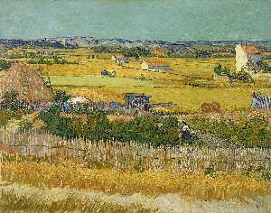 Harvest Landscape with Blue Cart