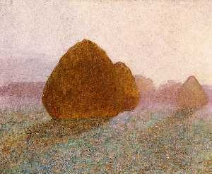 Haystack at Giverny, Normandy: Sun Dispelling Morning Mist