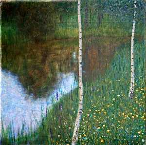 Lakeside with Birch Trees