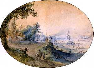 Landscape with Buildings on the Bank of a River