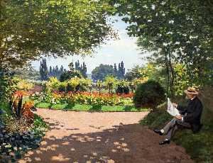 Adolphe Monet Reading in the Garden