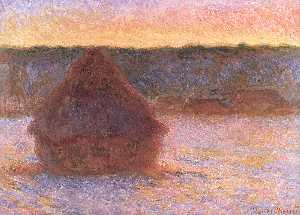 Haystacks at Sunset, Frosty Weather