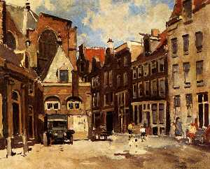 A Townscene With Children At Play, Haarlem