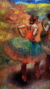 Two Dancers in Green Skirts, Landscape Scener