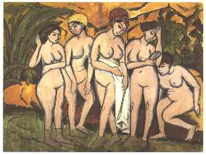 Five Bathing Women at a Lake