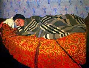 Laid down woman, sleeping