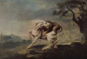 лев нападает на лошадь