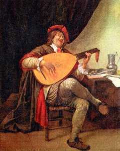 Self-portrait with a lute