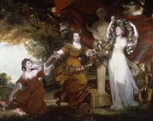 Three Ladies Adorning a Term of Hymen