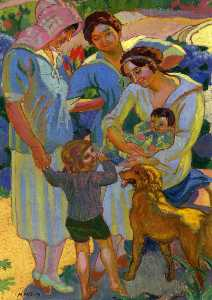 Around a Child with Dog