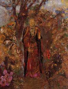 Buddha Walking among the Flowers