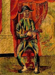 Harlequin with guitar