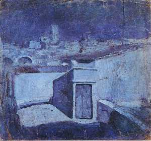 The roofs of Barcelona in the moonlight