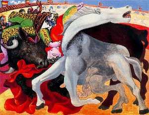 Bullfight, the death of the torero