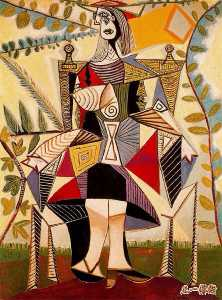 Seated woman in garden