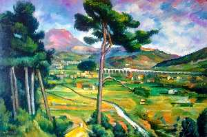 Landscape with viaduct: Montagne Sainte-Victoire