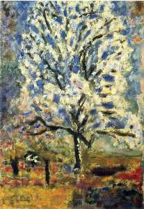 The almond tree in blossom